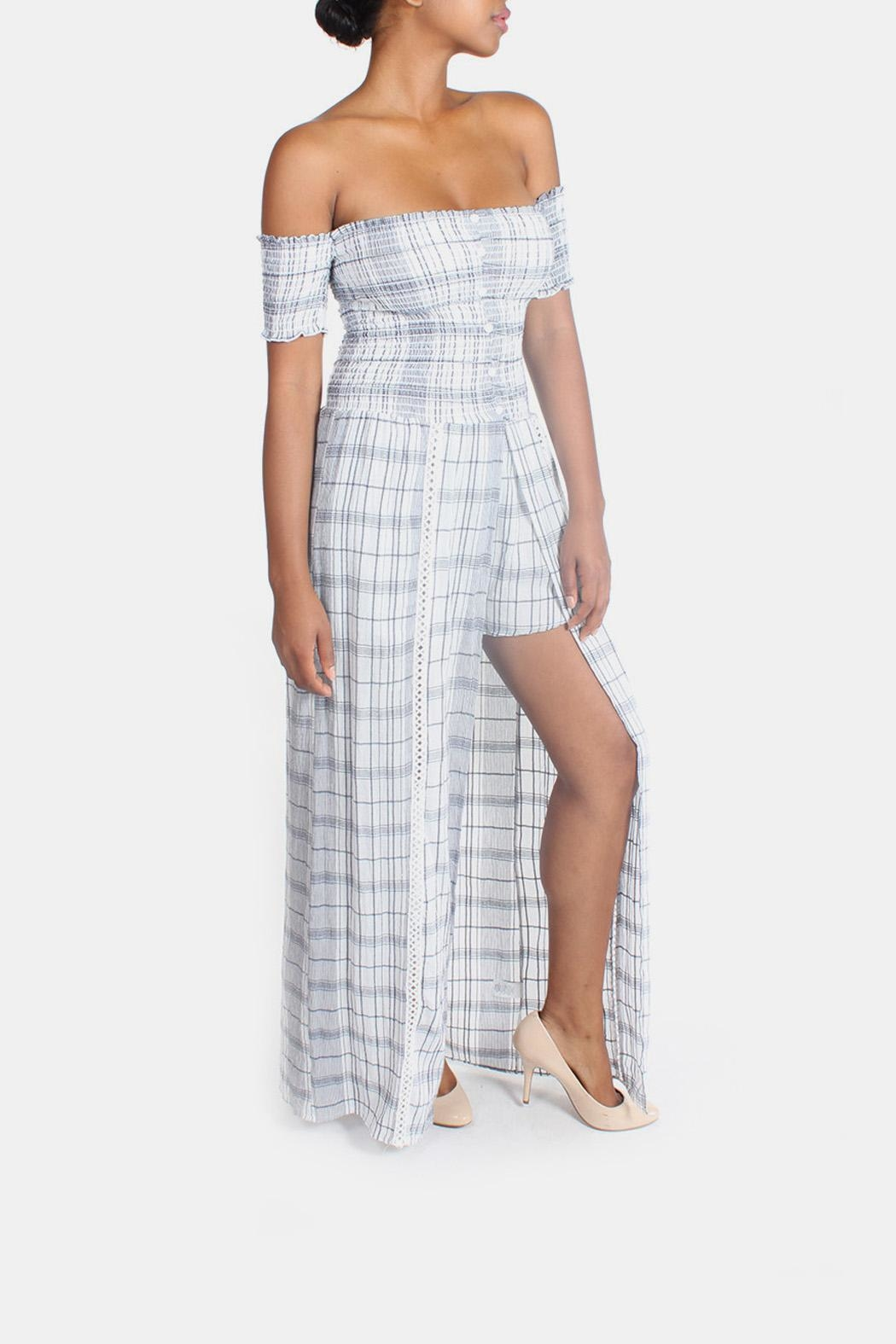 Sage Summer Plaid-Romper Maxi-Dress - Side Cropped Image