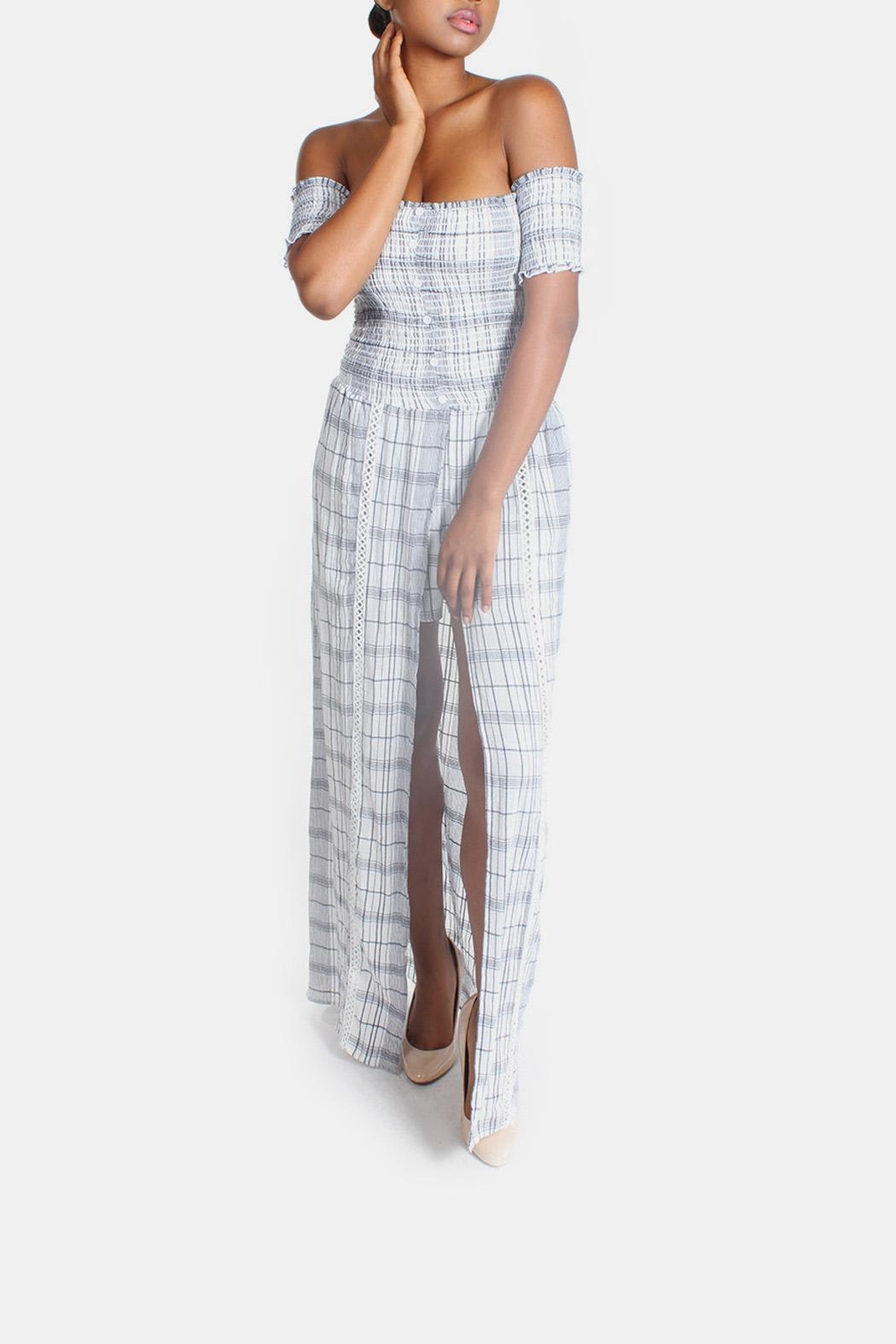Sage Summer Plaid-Romper Maxi-Dress - Main Image
