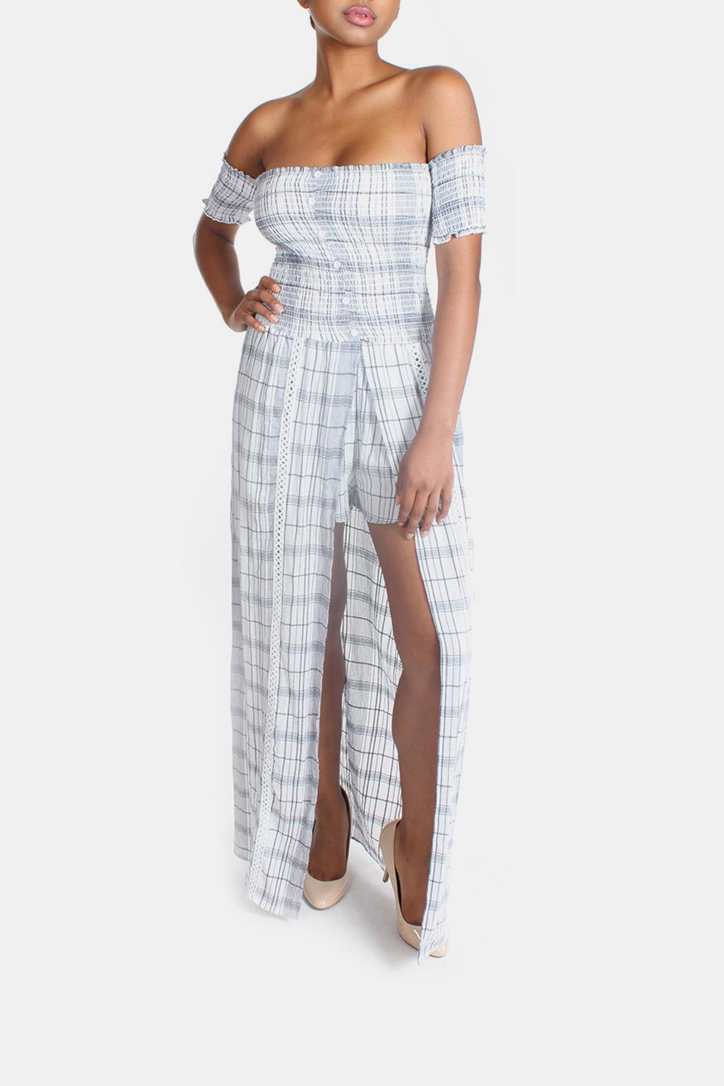 Sage Summer Plaid-Romper Maxi-Dress - Front Full Image