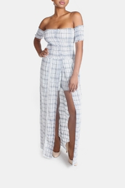 Sage Summer Plaid-Romper Maxi-Dress - Front full body