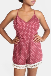 Sage Tapestry Burgundy Romper - Product Mini Image