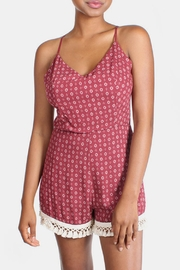 Sage Tapestry Burgundy Romper - Front full body