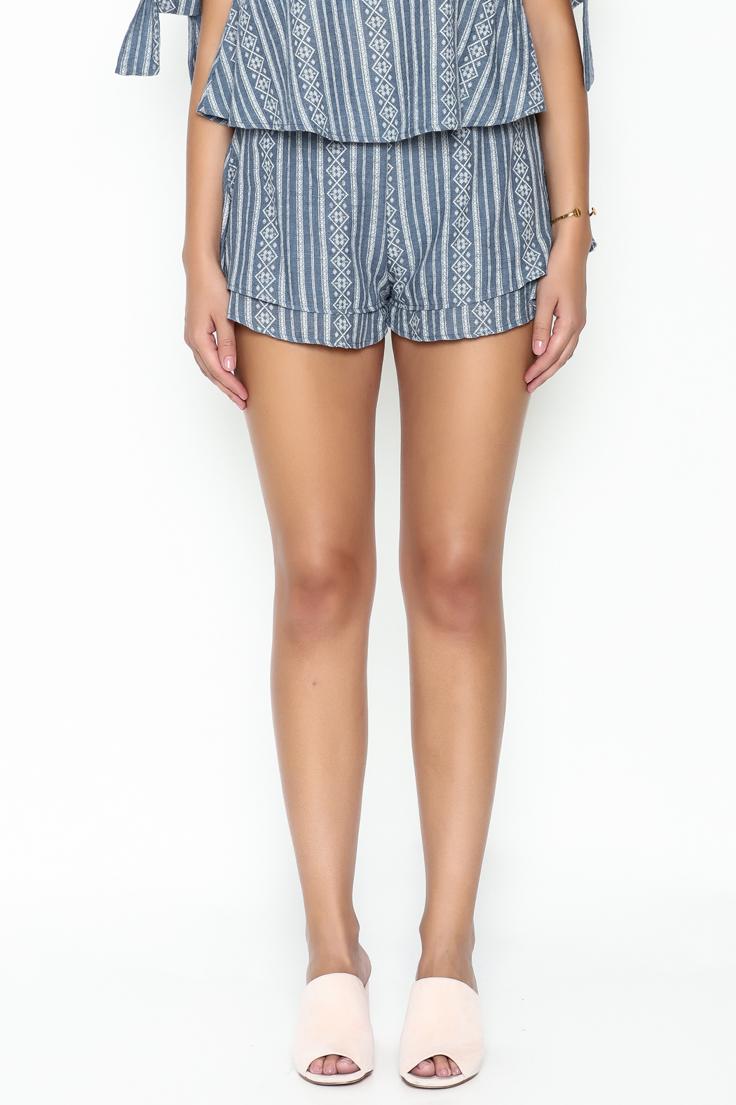 SAGE THE LABEL Blue Print Shorts - Front Full Image