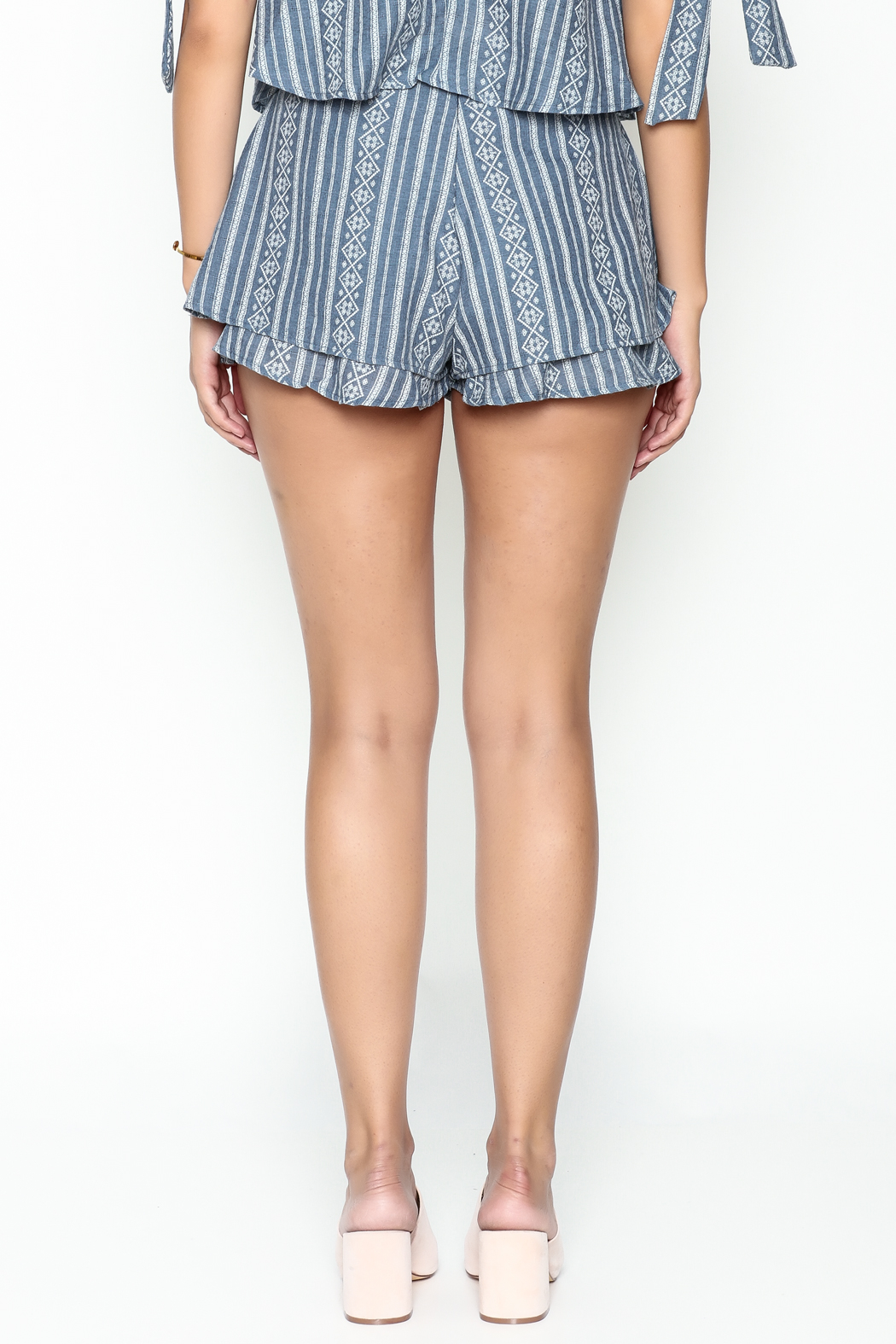SAGE THE LABEL Blue Print Shorts - Back Cropped Image