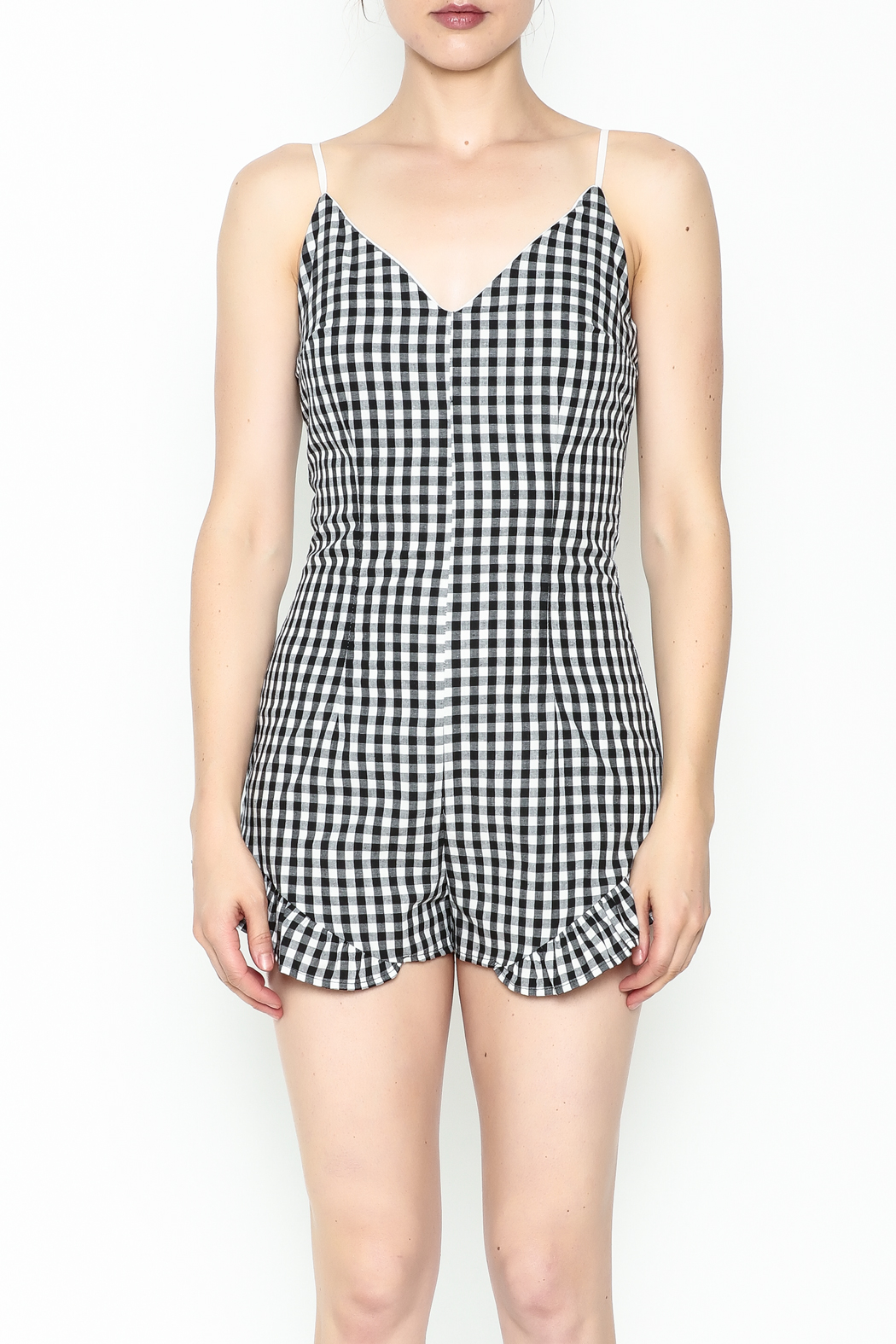 SAGE THE LABEL Gingham Ruffle Romper - Front Full Image