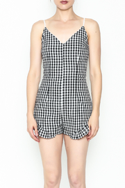 SAGE THE LABEL Gingham Ruffle Romper - Front full body