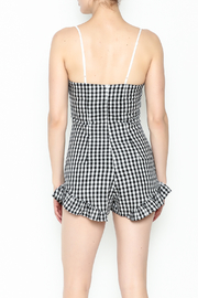 SAGE THE LABEL Gingham Ruffle Romper - Back cropped