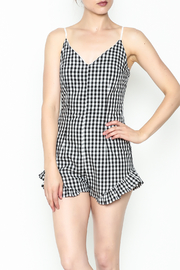 SAGE THE LABEL Gingham Ruffle Romper - Front cropped