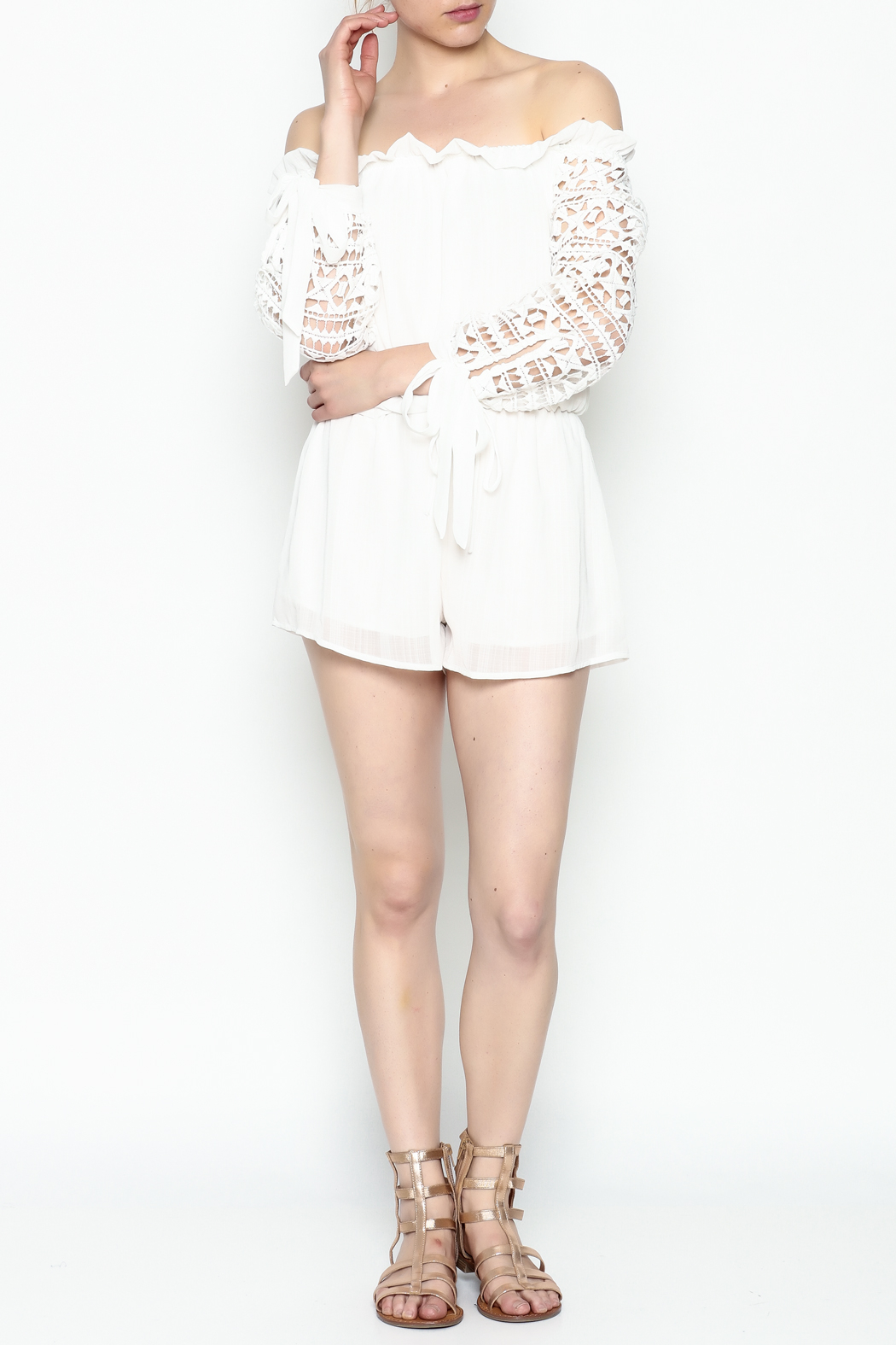 Sage White Romper - Side Cropped Image