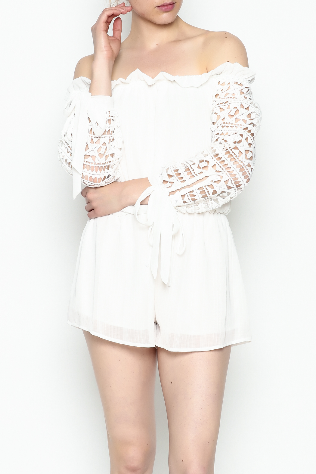 Sage White Romper - Front Cropped Image