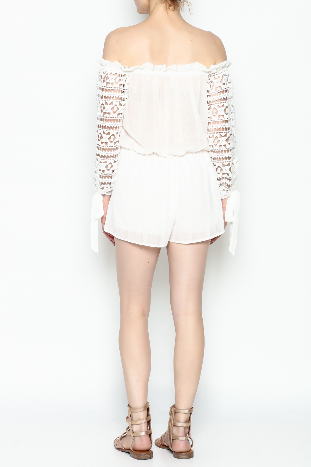 Sage White Romper - Back Cropped Image