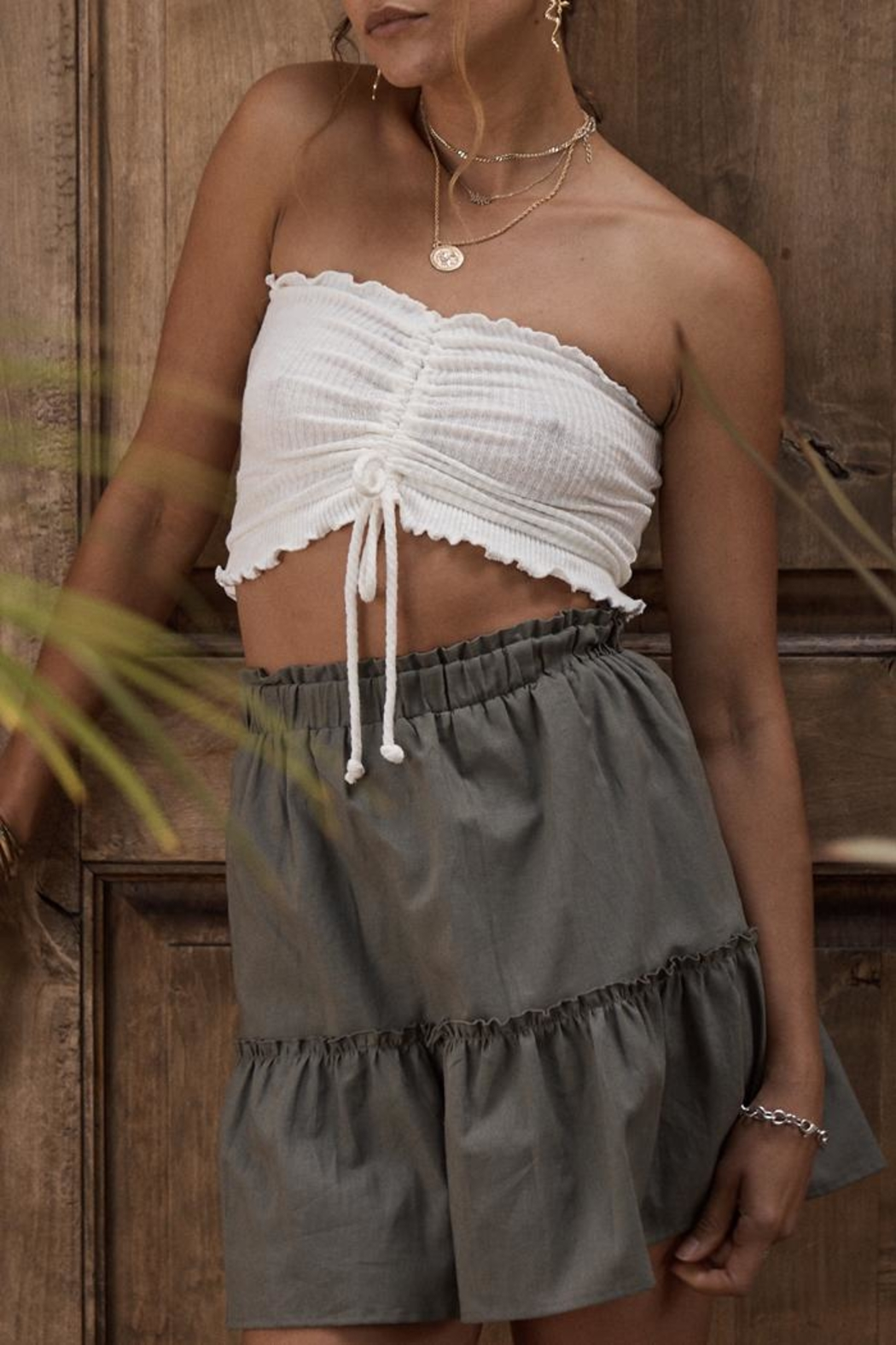 SAGE THE LABEL Cinched Crop Top - Front Full Image