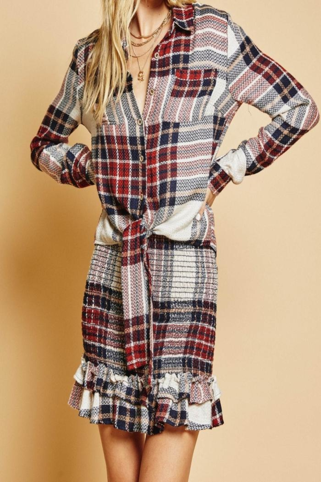 SAGE THE LABEL Plaid Top - Front Cropped Image