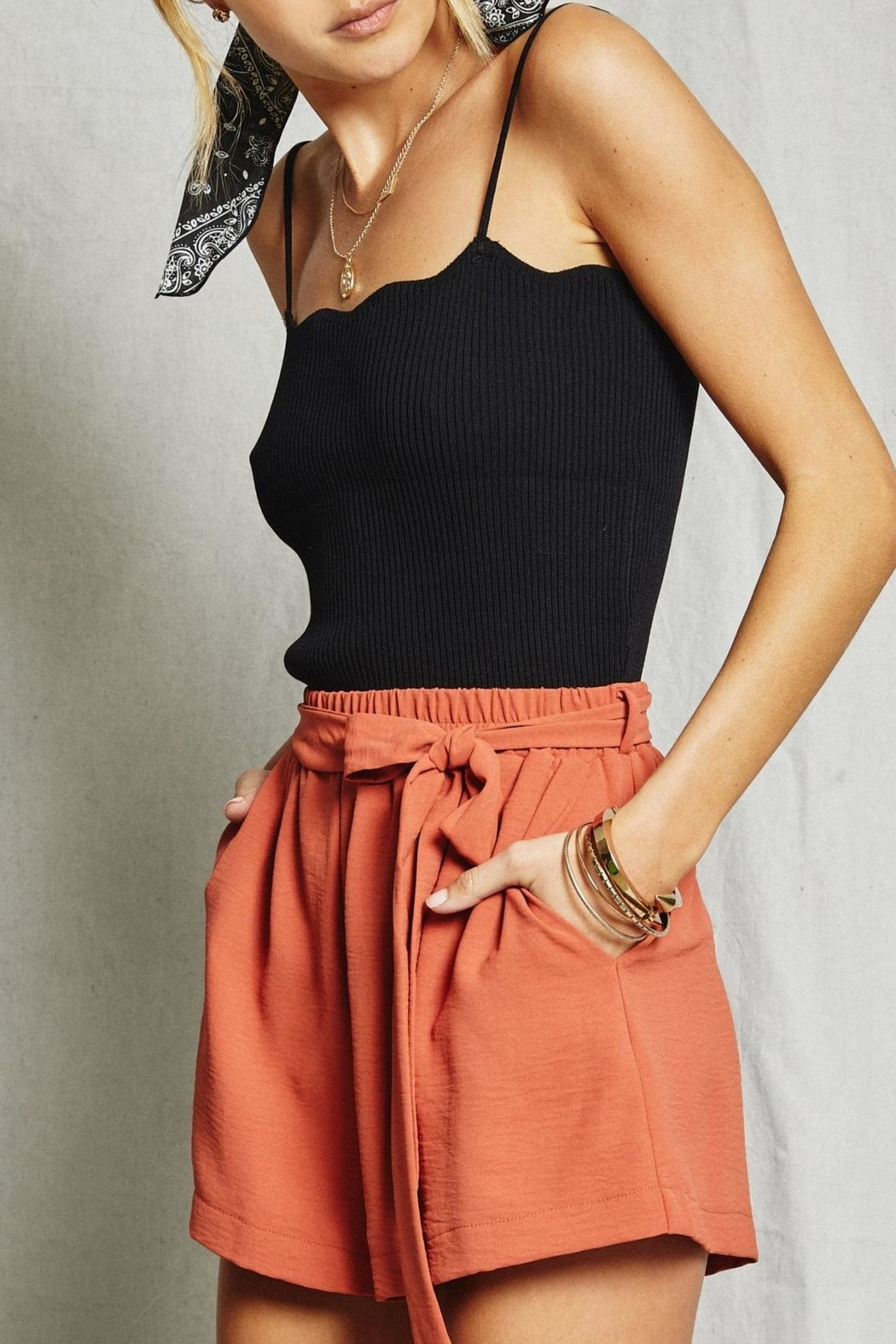SAGE THE LABEL Ribbed Scalloped Tank - Front Full Image