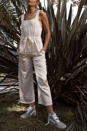 SAGE THE LABEL White Denim Jumpsuit - Front full body