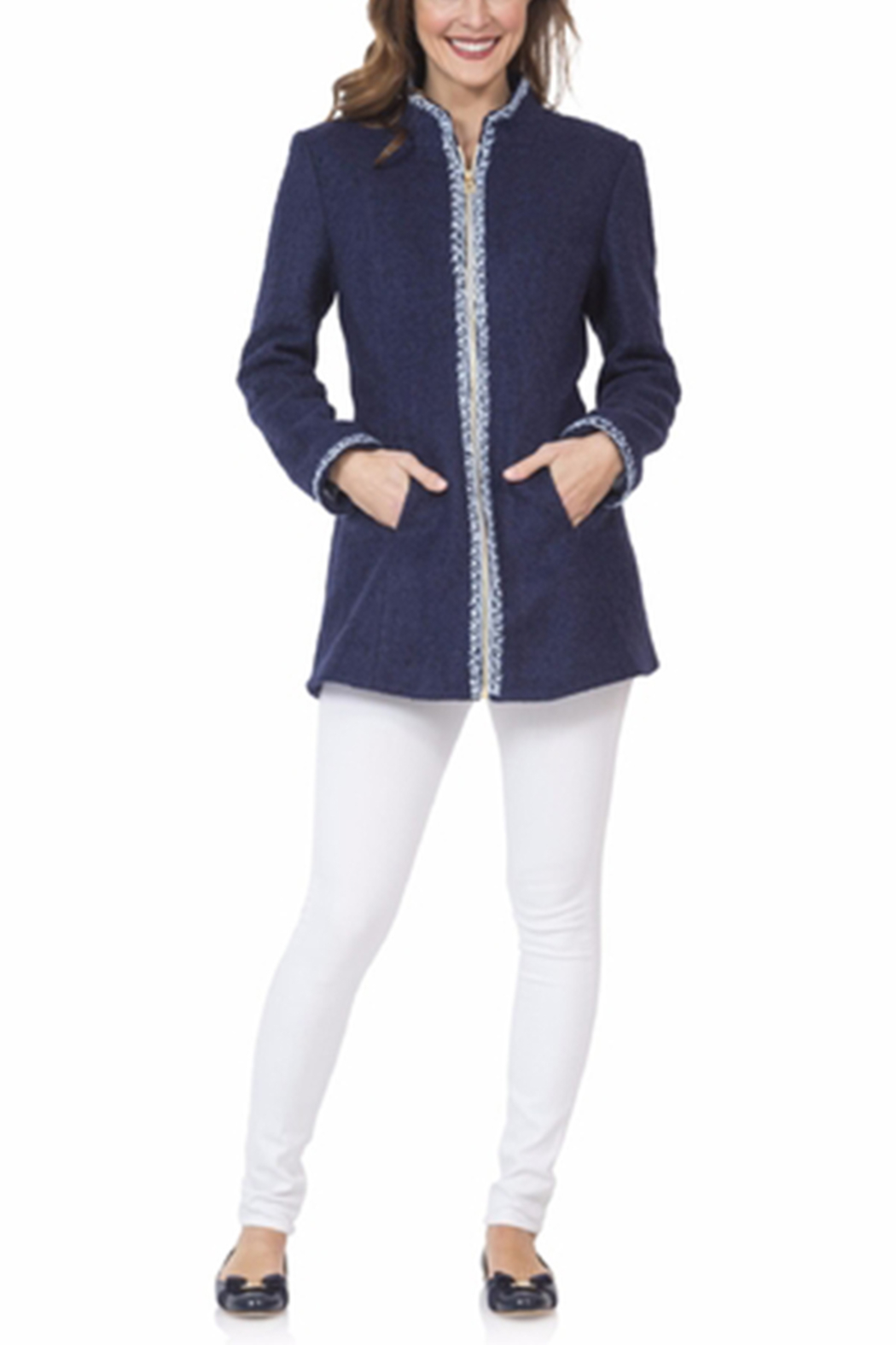 Sail to Sable Embroidery Navy Coat - Main Image