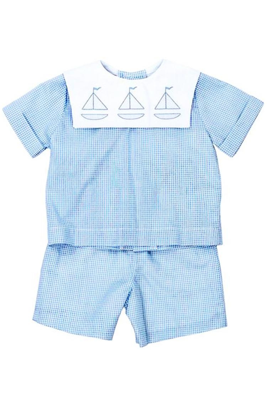 Bailey Boys Sailboat Shadow-Stitched Short-Set - Front Cropped Image