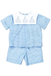 Bailey Boys Sailboat Shadow-Stitched Short-Set - Front cropped