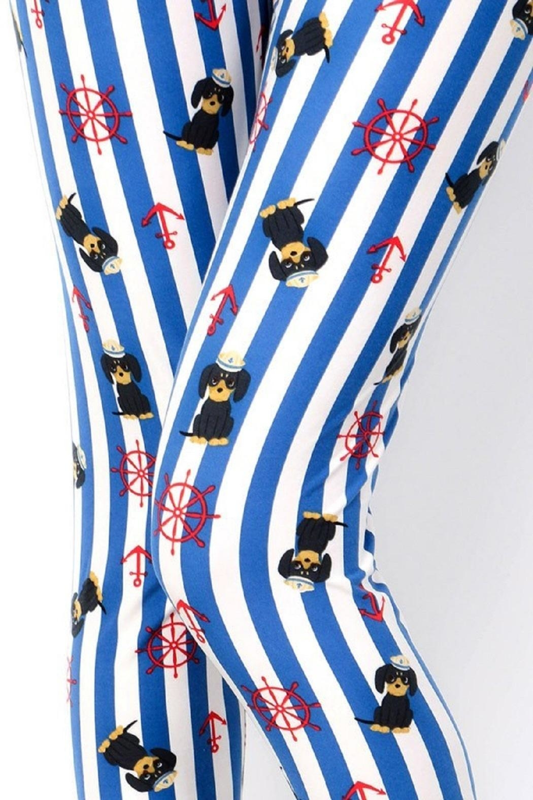 New Mix Sailor Puppy&Stripes Leggings - Front Full Image