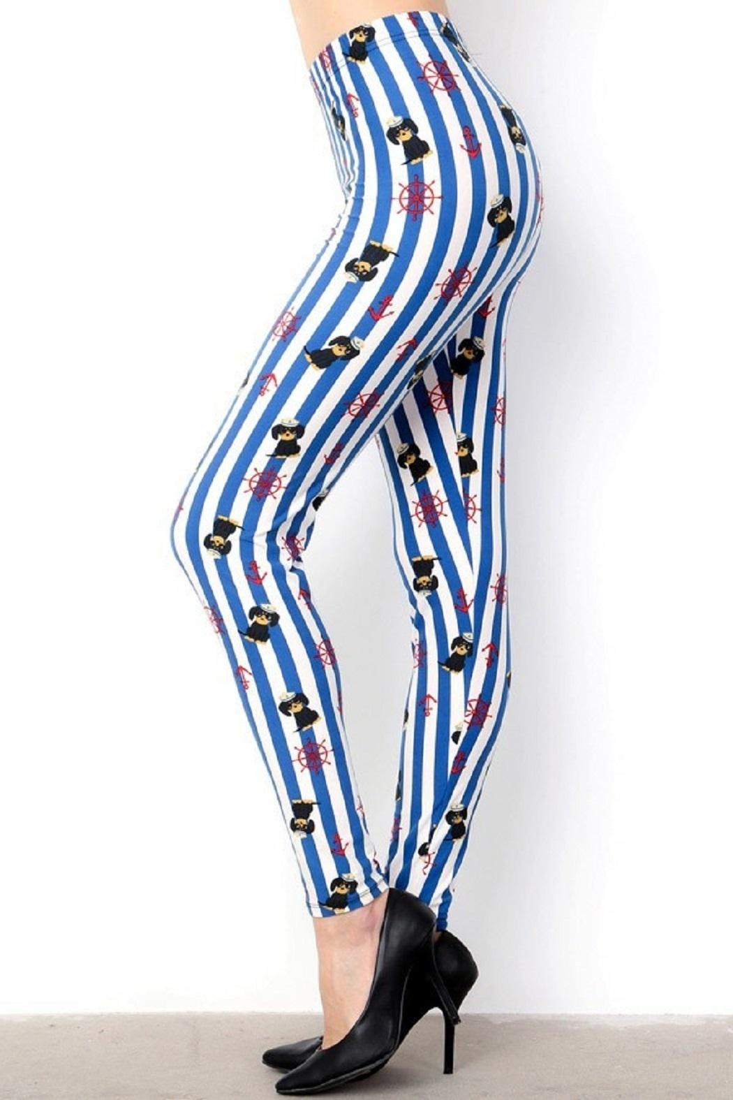 New Mix Sailor Puppy&Stripes Leggings - Side Cropped Image