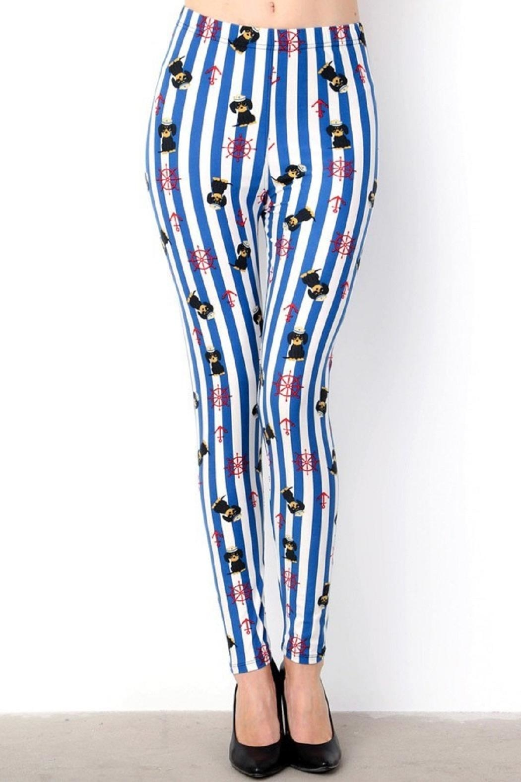New Mix Sailor Puppy&Stripes Leggings - Main Image