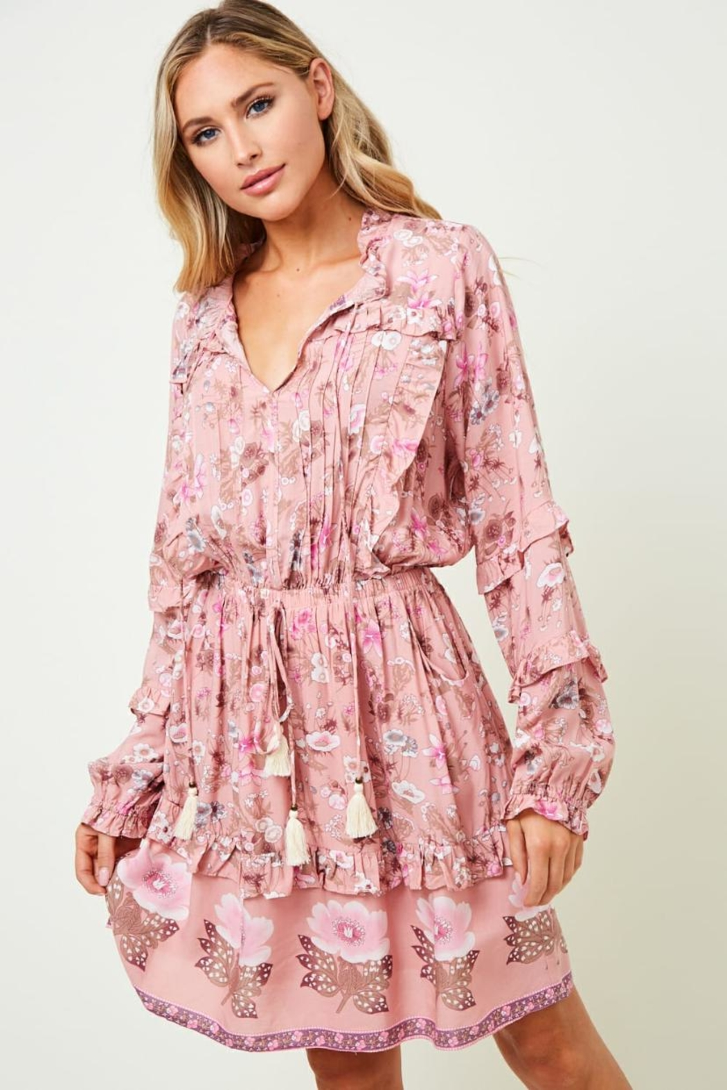 saints and hearts Ruffled Floral Dress - Front Full Image