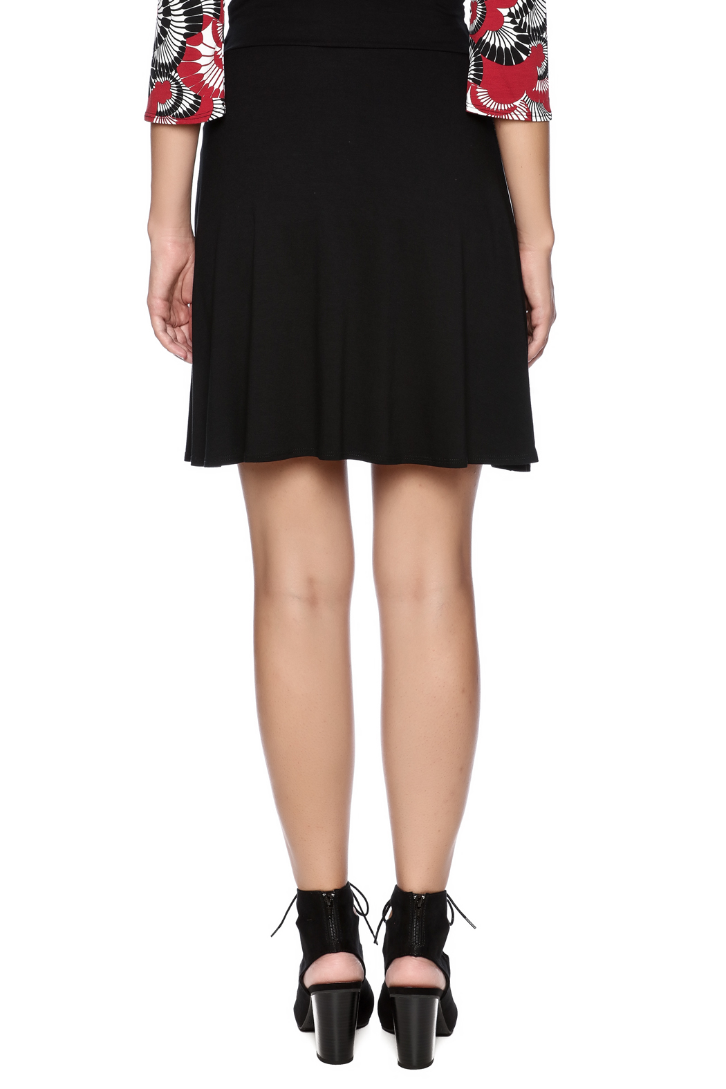 salaam Black Short Flippy Skirt - Back Cropped Image