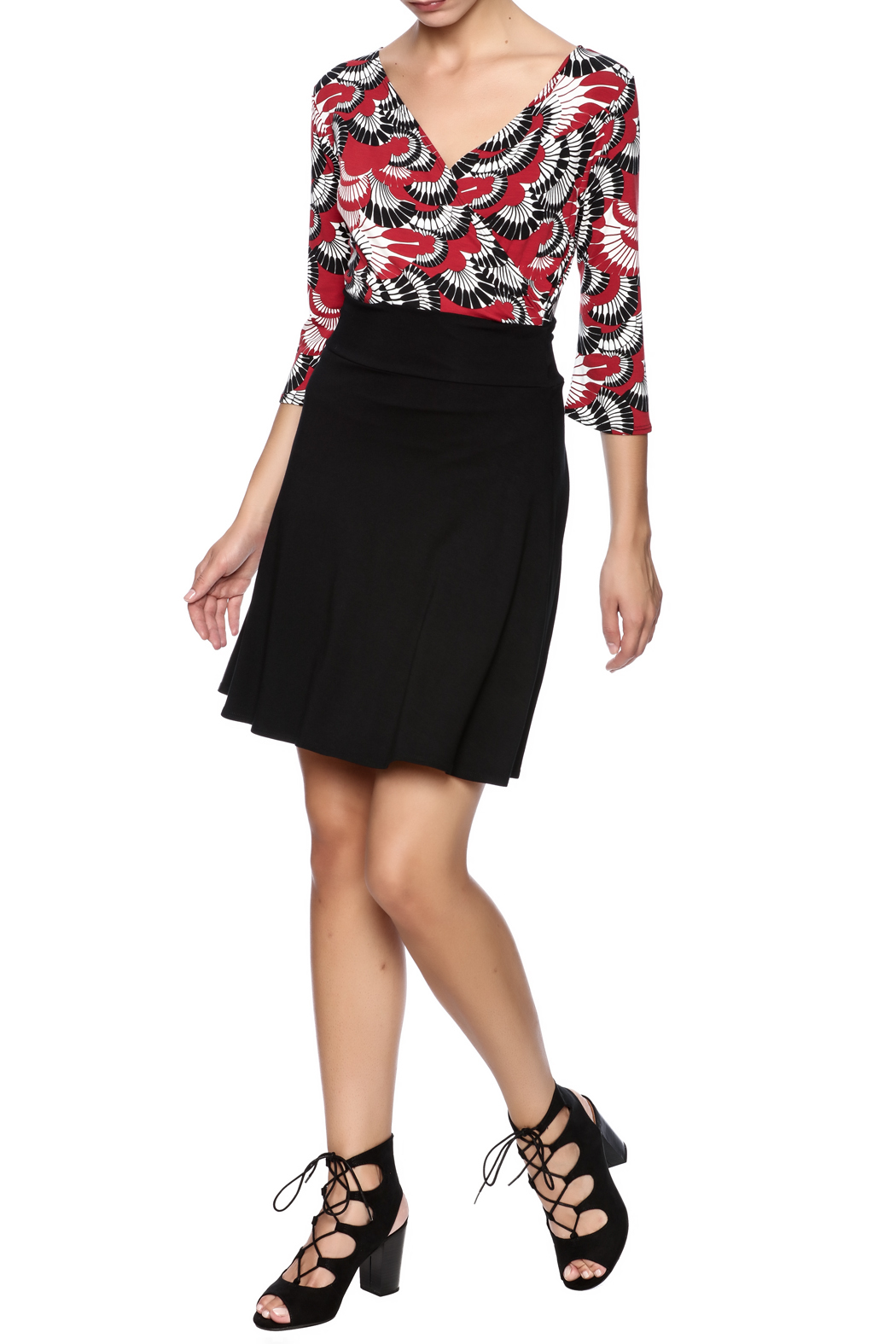 salaam Black Short Flippy Skirt - Front Full Image