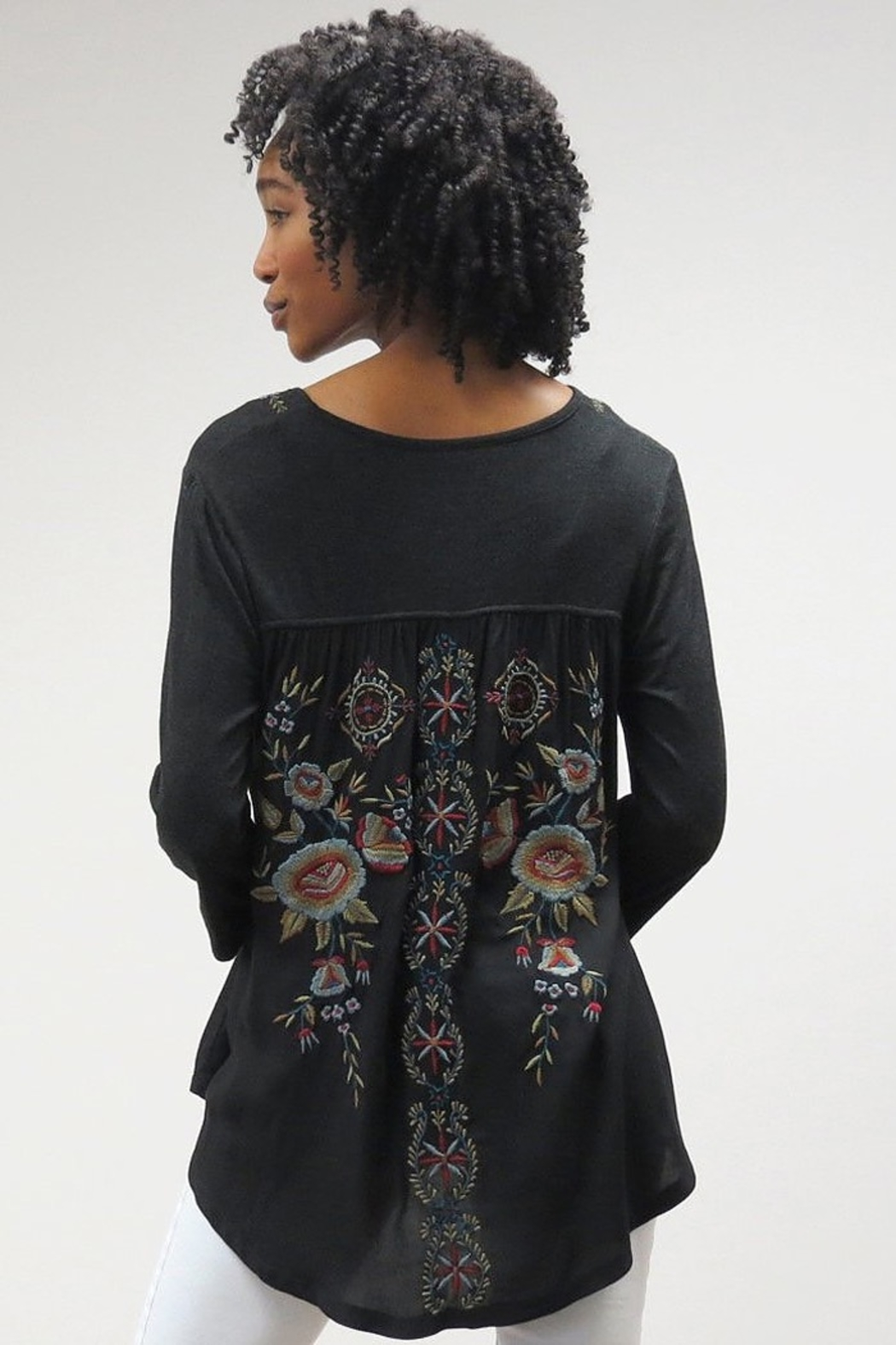 Caite Salina  V Neck tee w embroidered back - Front Full Image