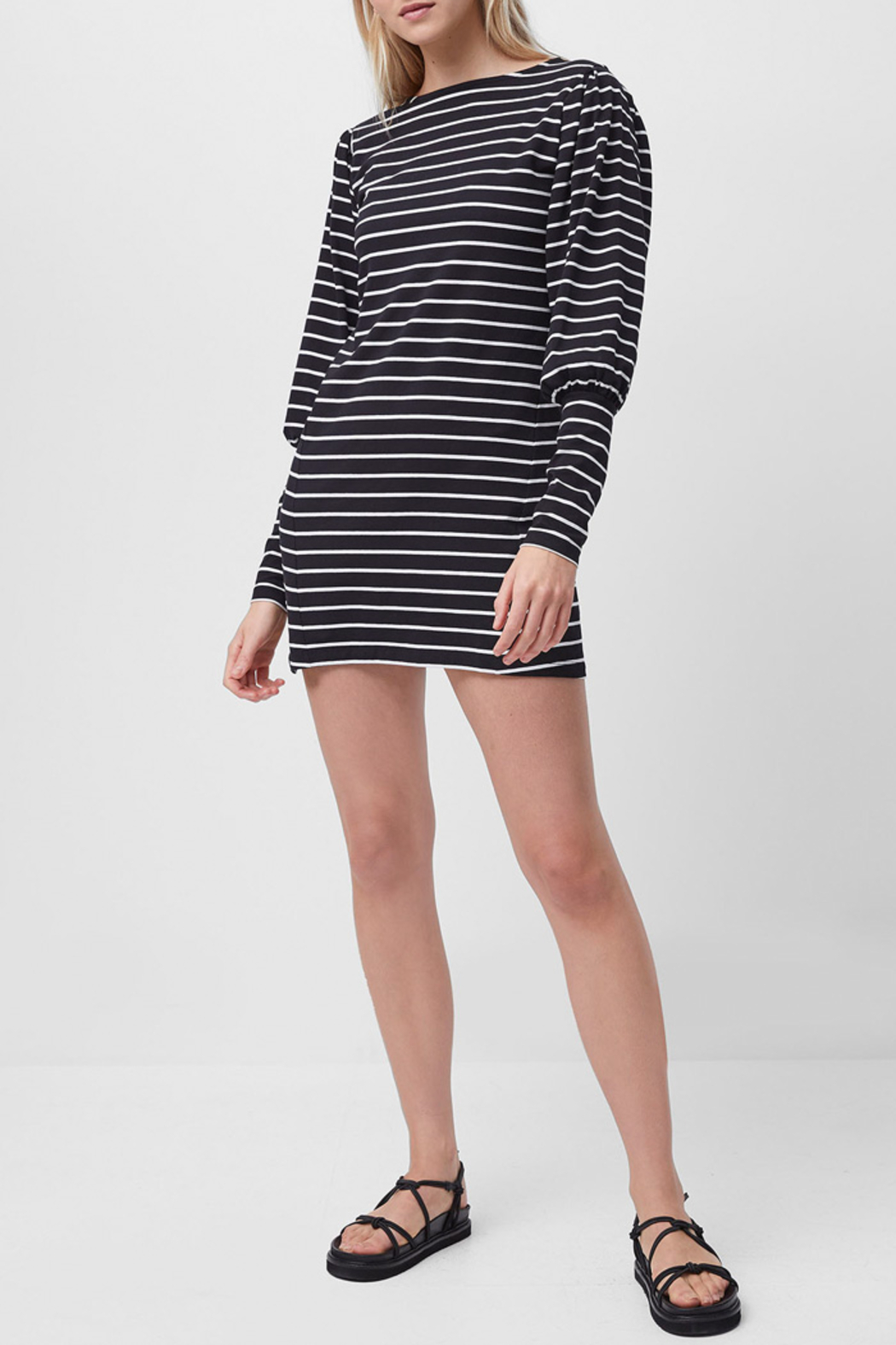 French Connection Sally Stripe Jersey Dress - Front Full Image