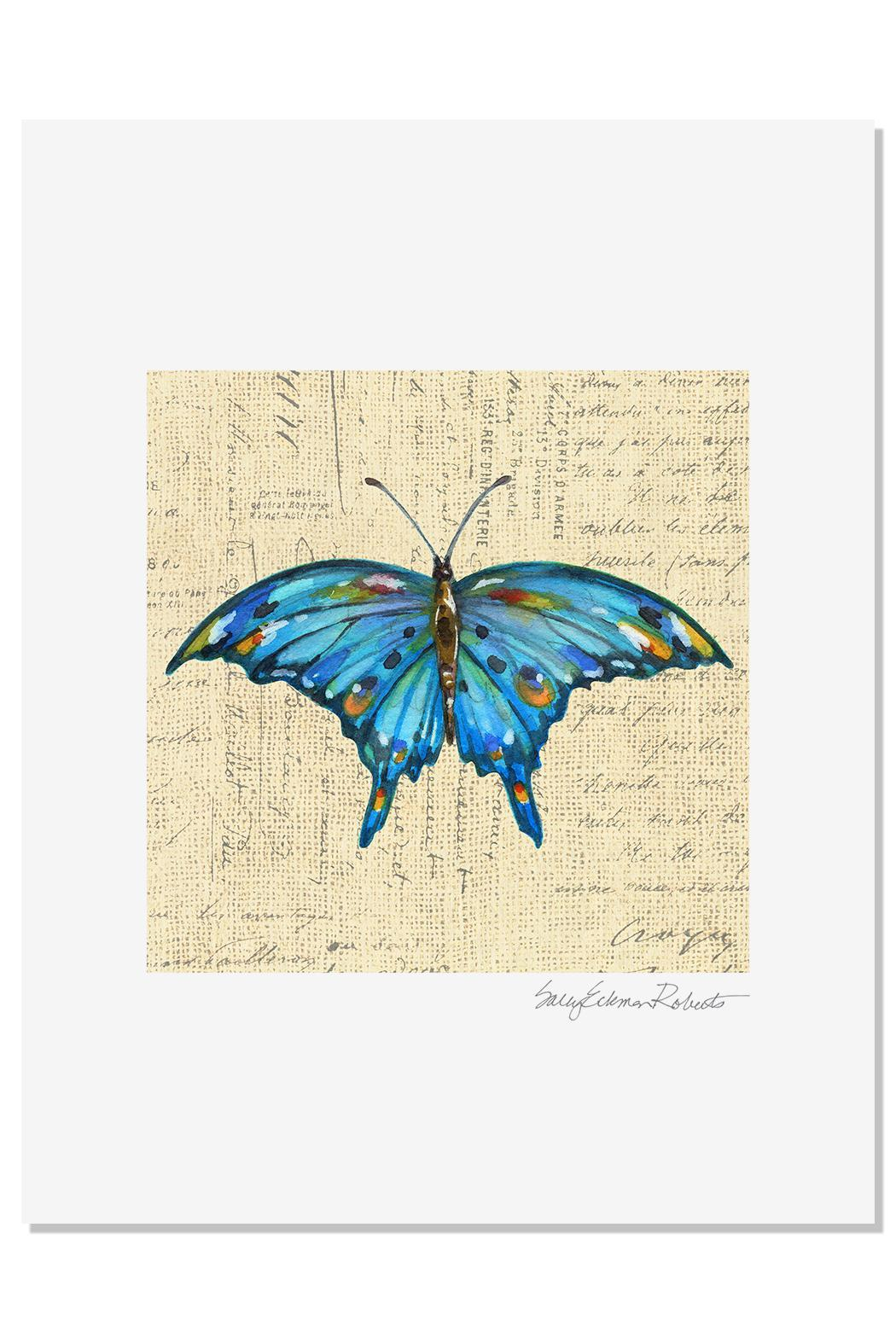 Sally Eckman Roberts Blue Butterfly Print - Main Image