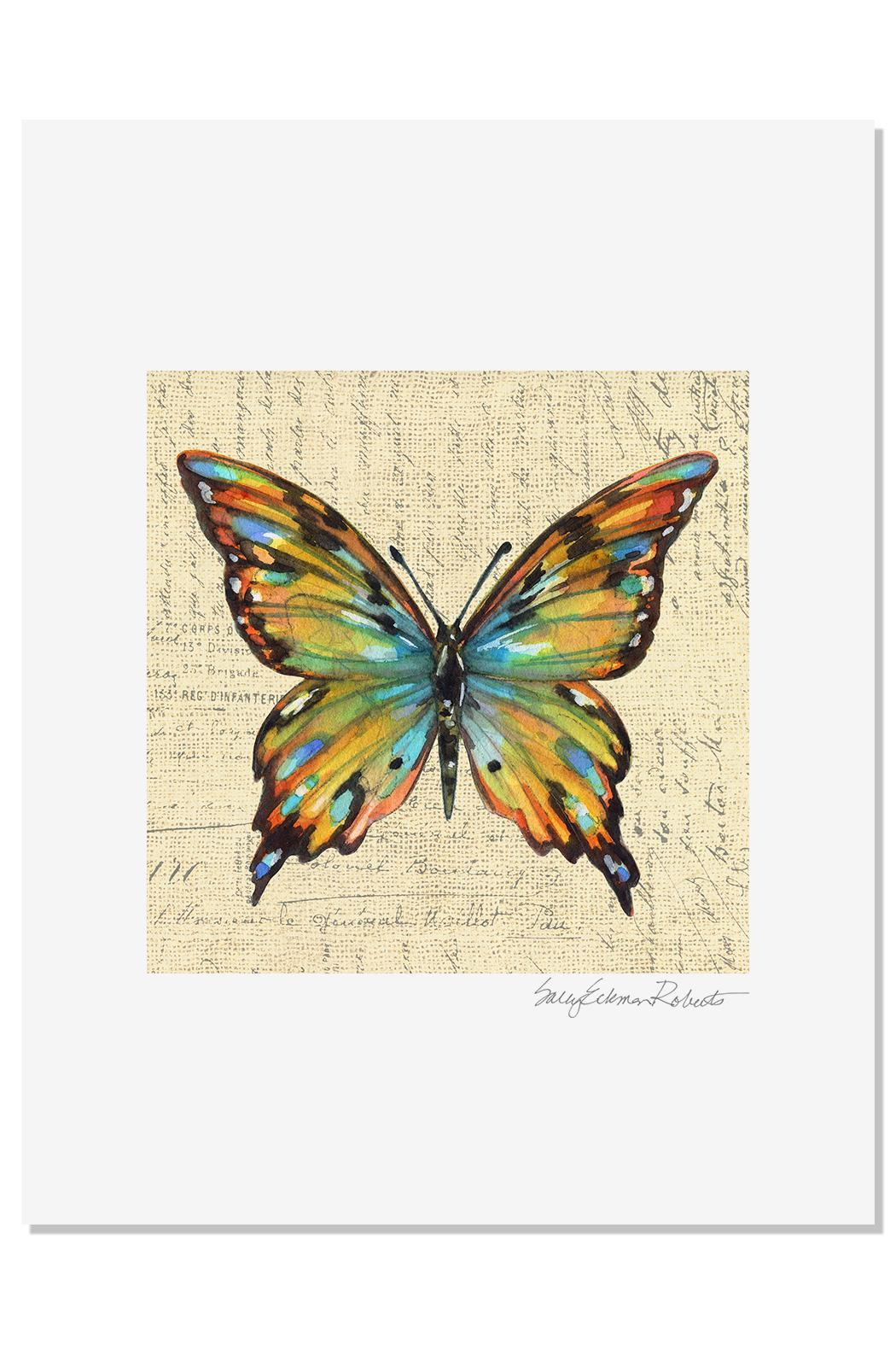 Sally Eckman Roberts Multicolor Butterfly Print - Main Image