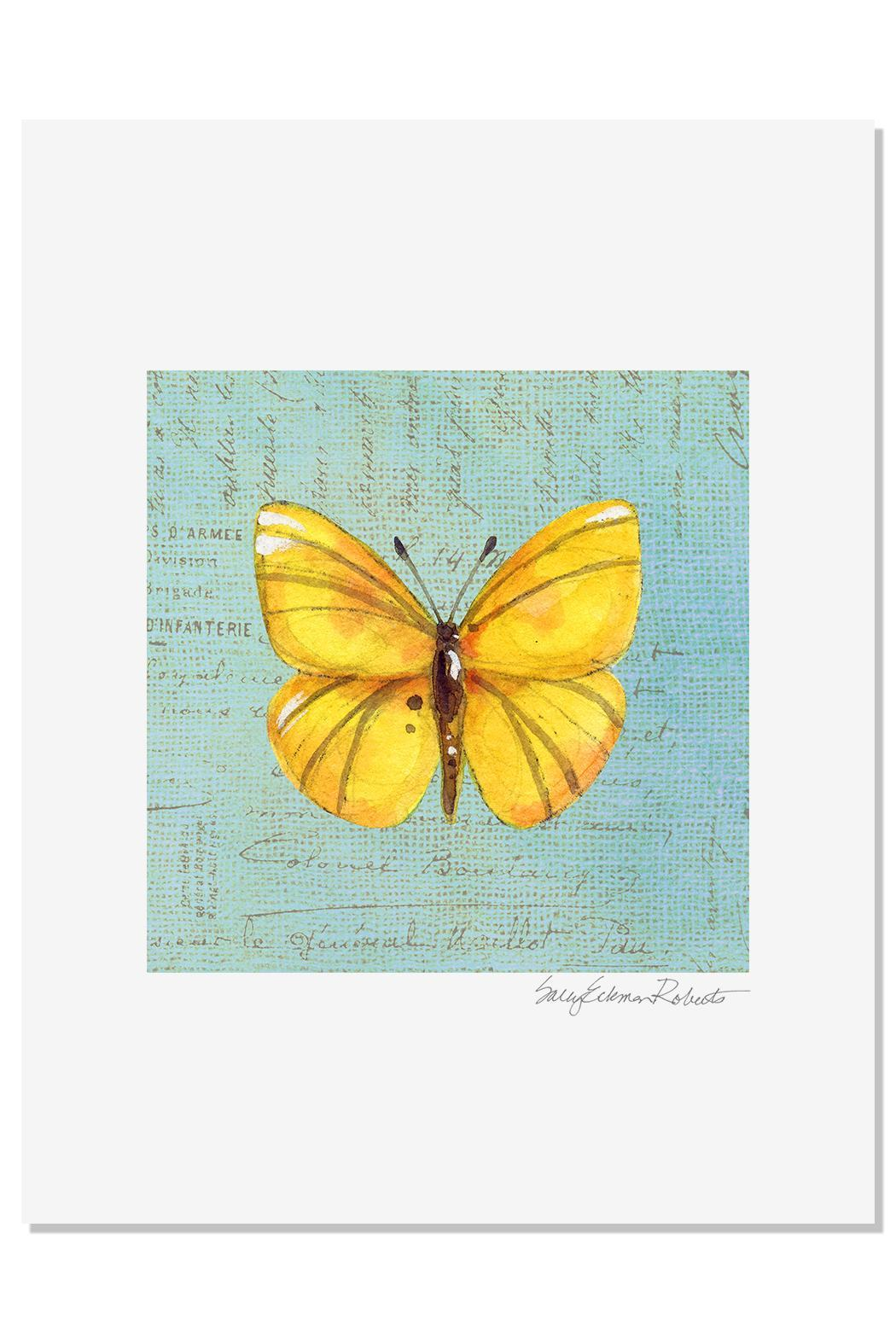 Sally Eckman Roberts Yellow Butterfly Print - Main Image