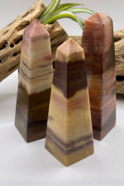 the wonder barre Salmon Banded Calcite Towers 4 1/2