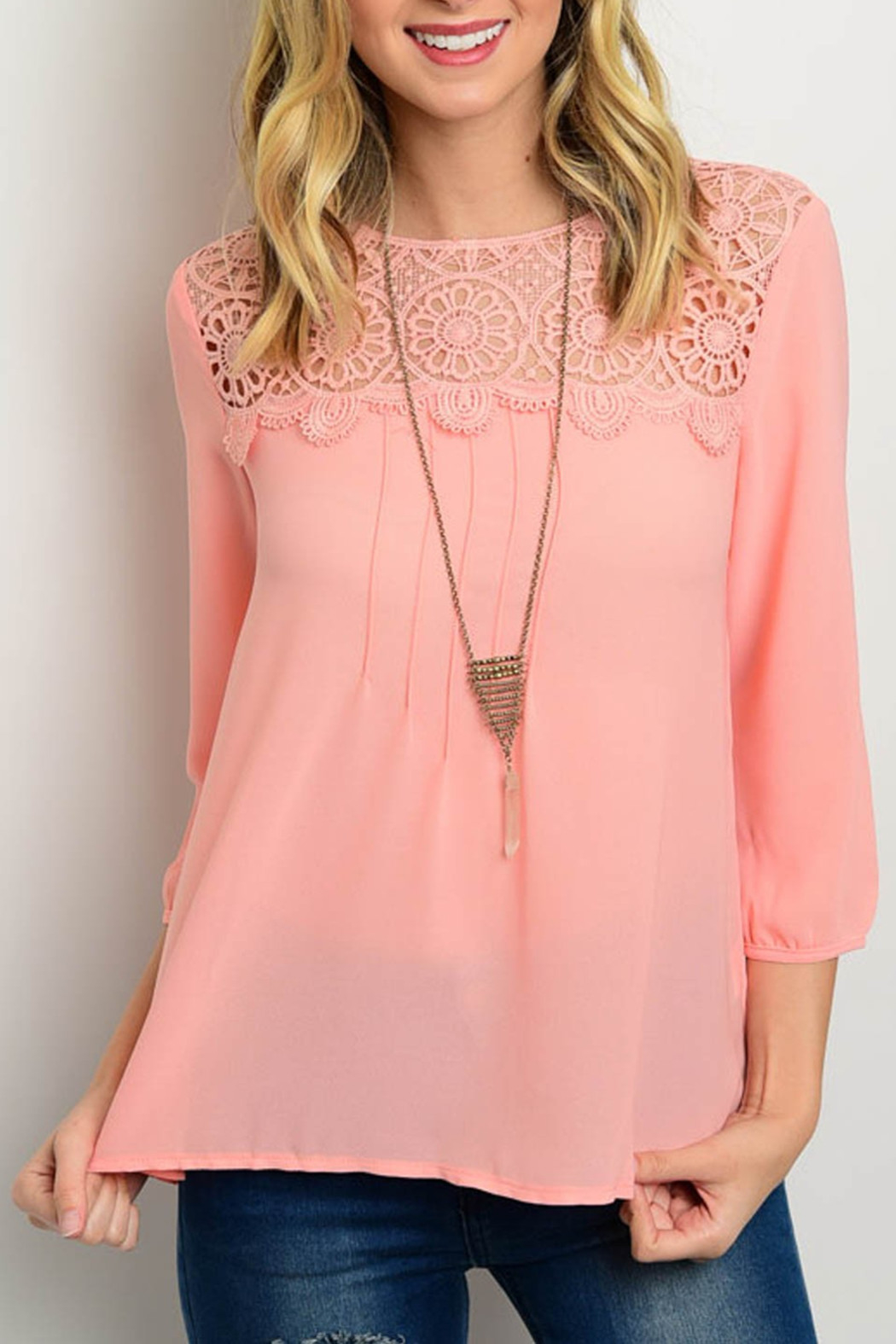 Roly Poly Salmon Crochet Blouse - Front Cropped Image