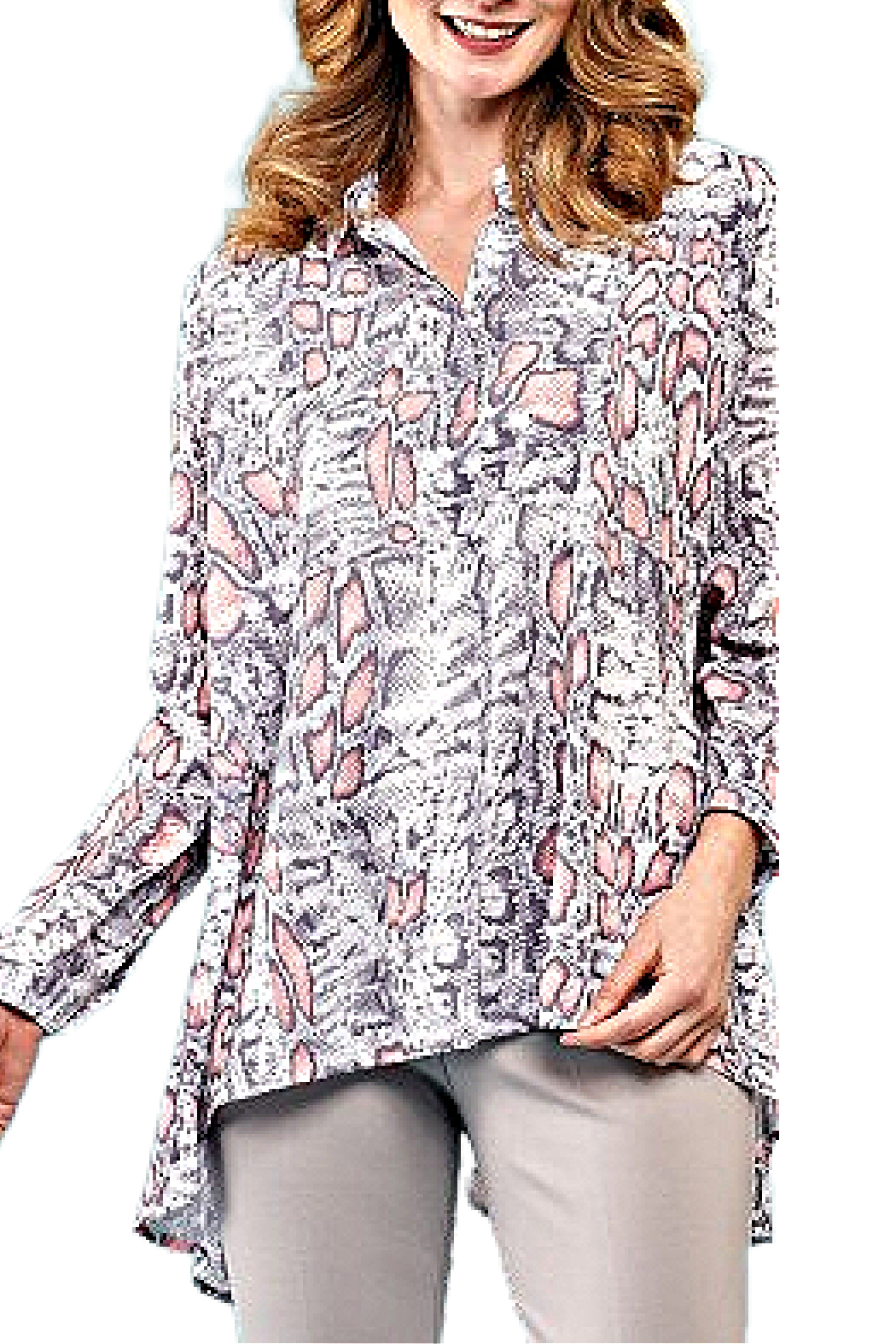 INSIGHT NYC Salmon/Grey/White Snakeskin Blouse - Front Cropped Image