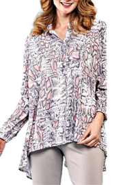 INSIGHT NYC Salmon/Grey/White Snakeskin Blouse - Front cropped
