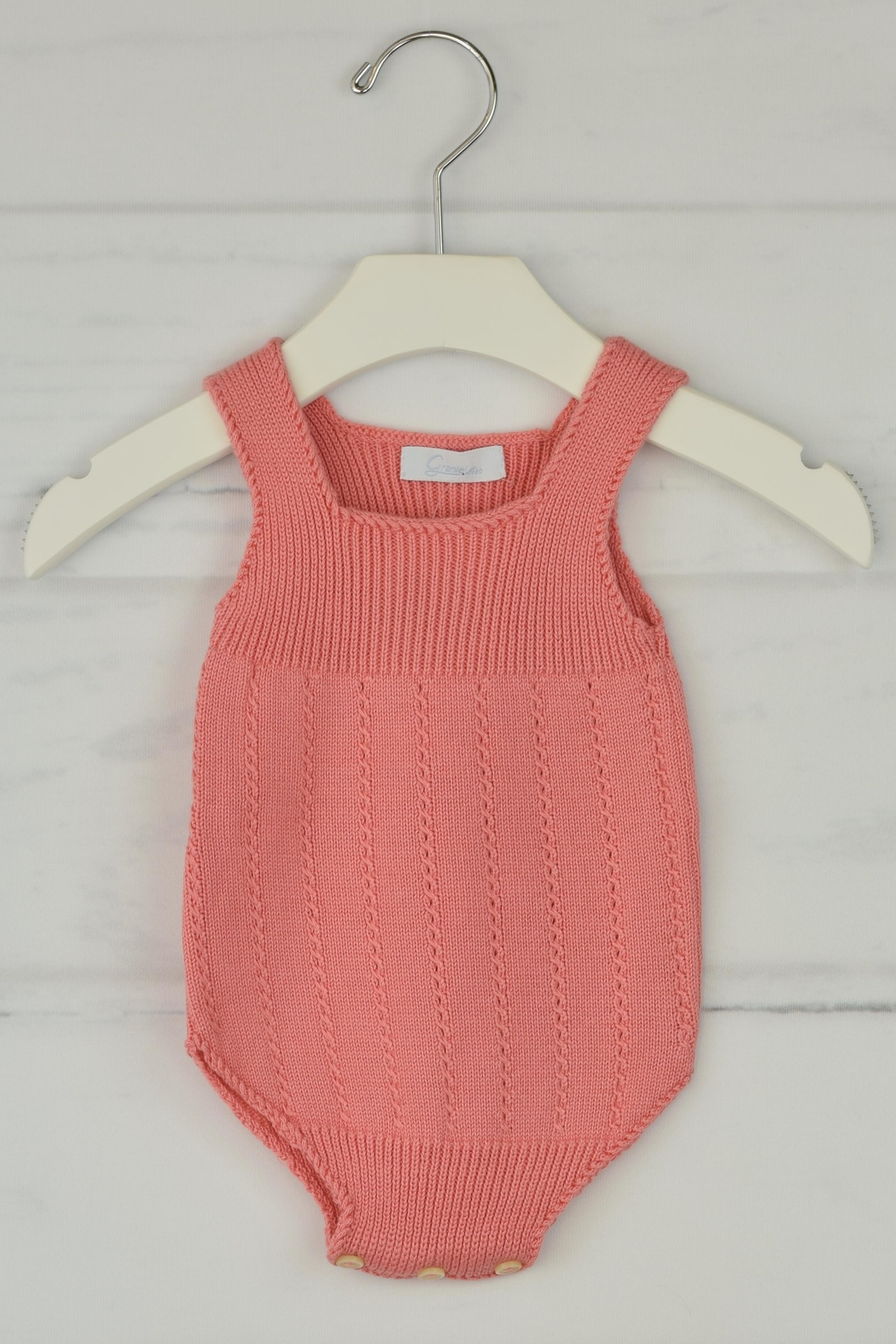 Granlei 1980 Salmon Knitted Onesie - Front Cropped Image