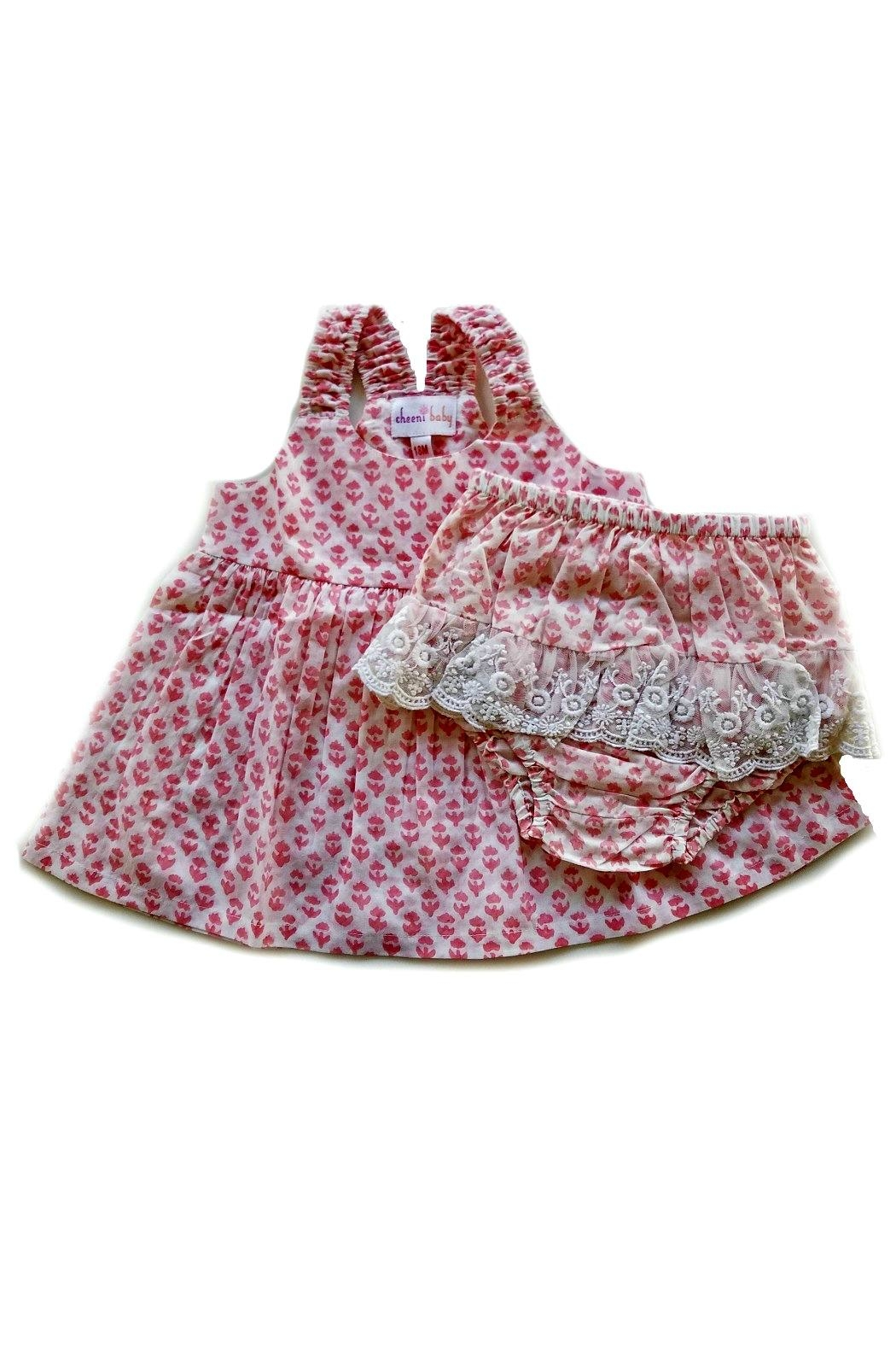 Cheeni Baby Salmon-Pink-Floral-Motif-Bloomer-Set - Main Image