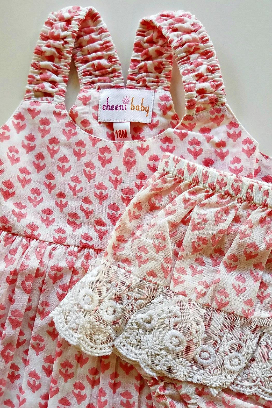 Cheeni Baby Salmon-Pink-Floral-Motif-Bloomer-Set - Side Cropped Image