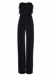 Saloni Strapless Feather Jumpsuit - Front cropped