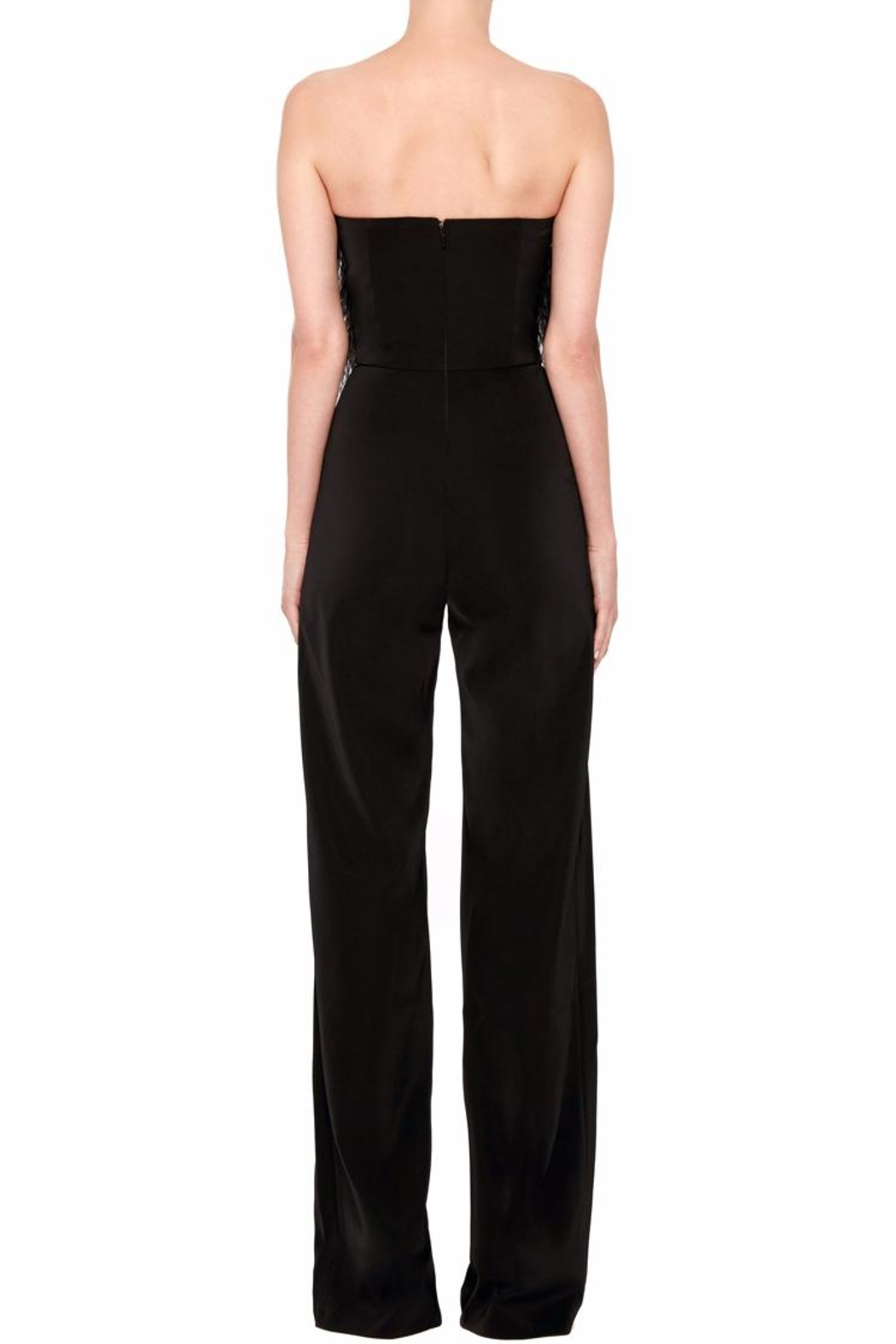 Saloni Strapless Feather Jumpsuit - Front Full Image