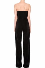 Saloni Strapless Feather Jumpsuit - Front full body