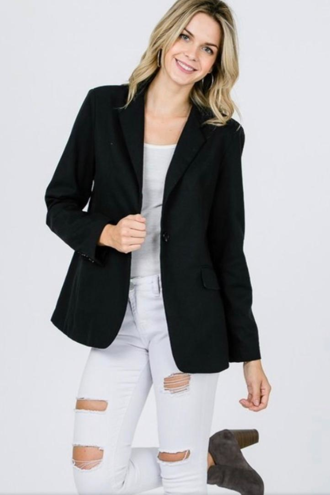 Salt Black Split Blazer - Front Full Image