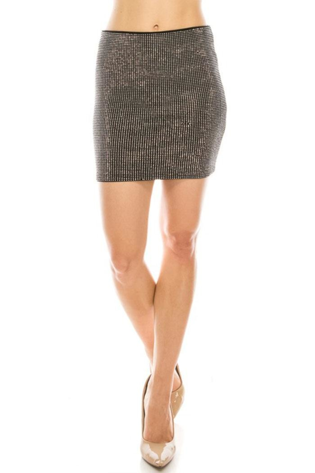 Salt Rhinestone Mini Skirt - Side Cropped Image