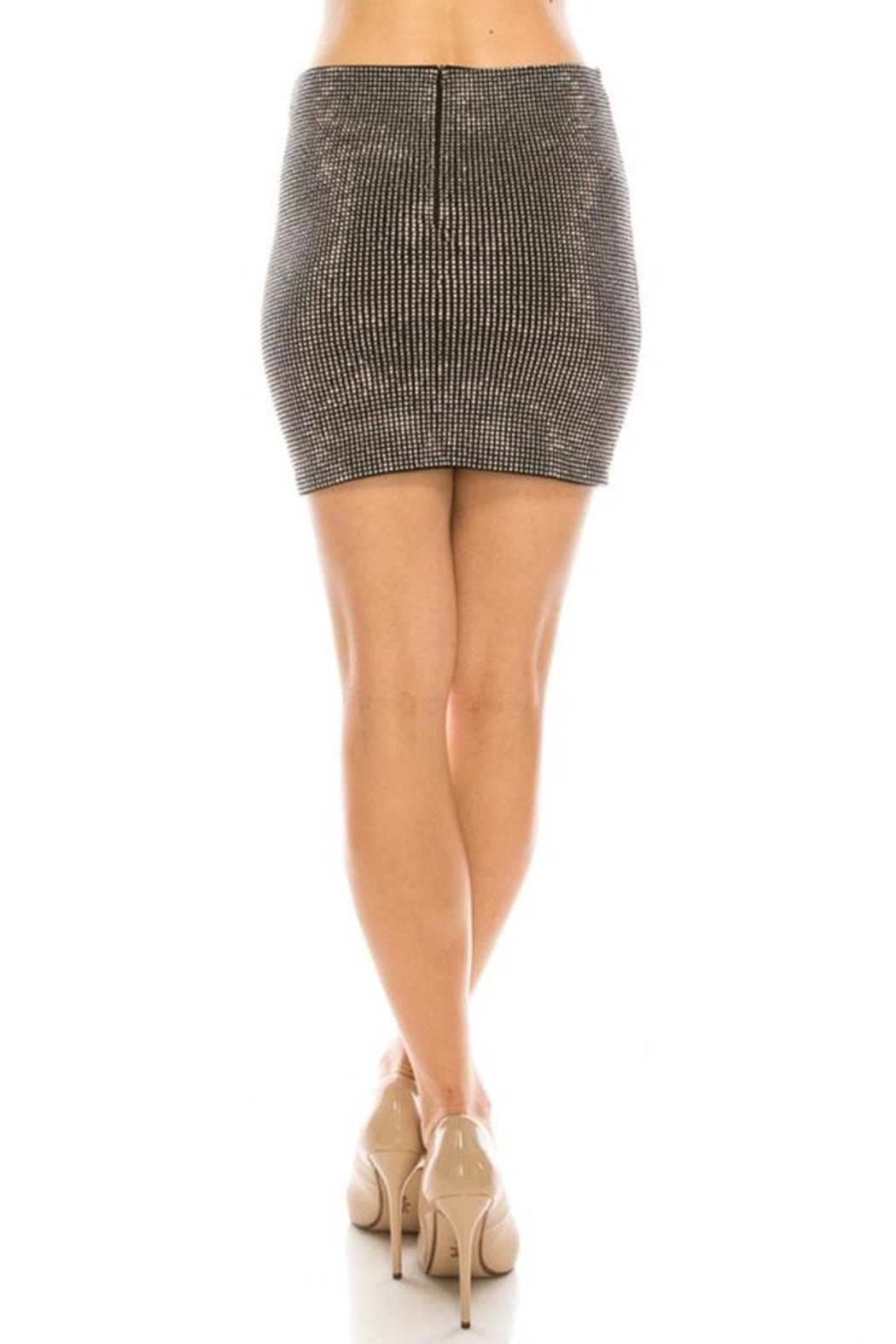 Salt Rhinestone Mini Skirt - Back Cropped Image