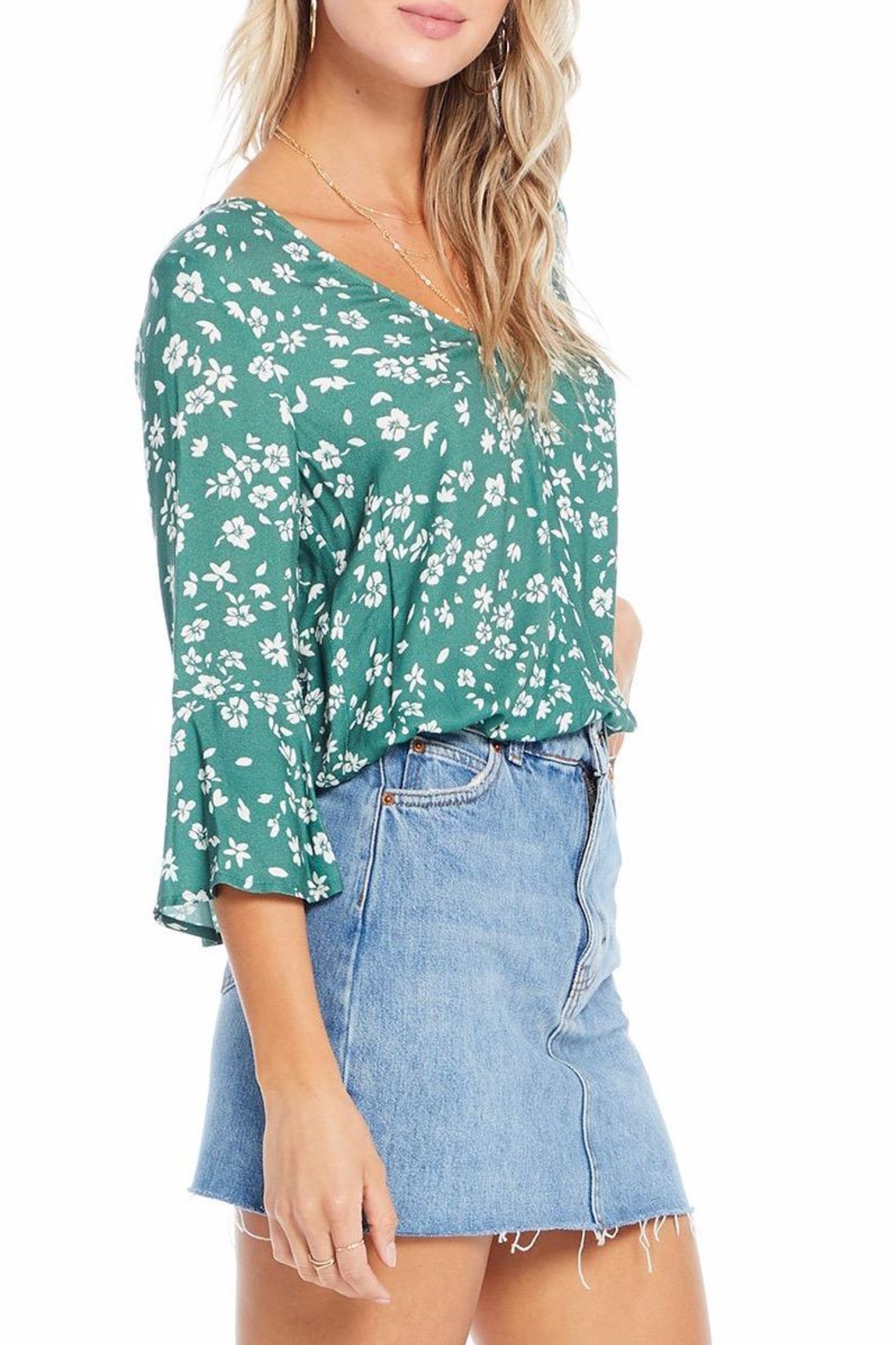 Saltwater Luxe Evergreen Floral Blouse - Side Cropped Image