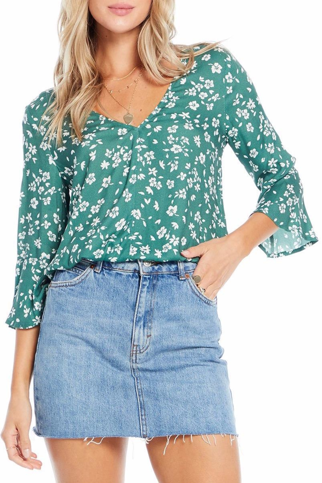 Saltwater Luxe Evergreen Floral Blouse - Main Image