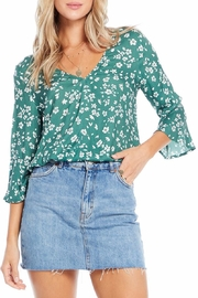 Saltwater Luxe Evergreen Floral Blouse - Front cropped