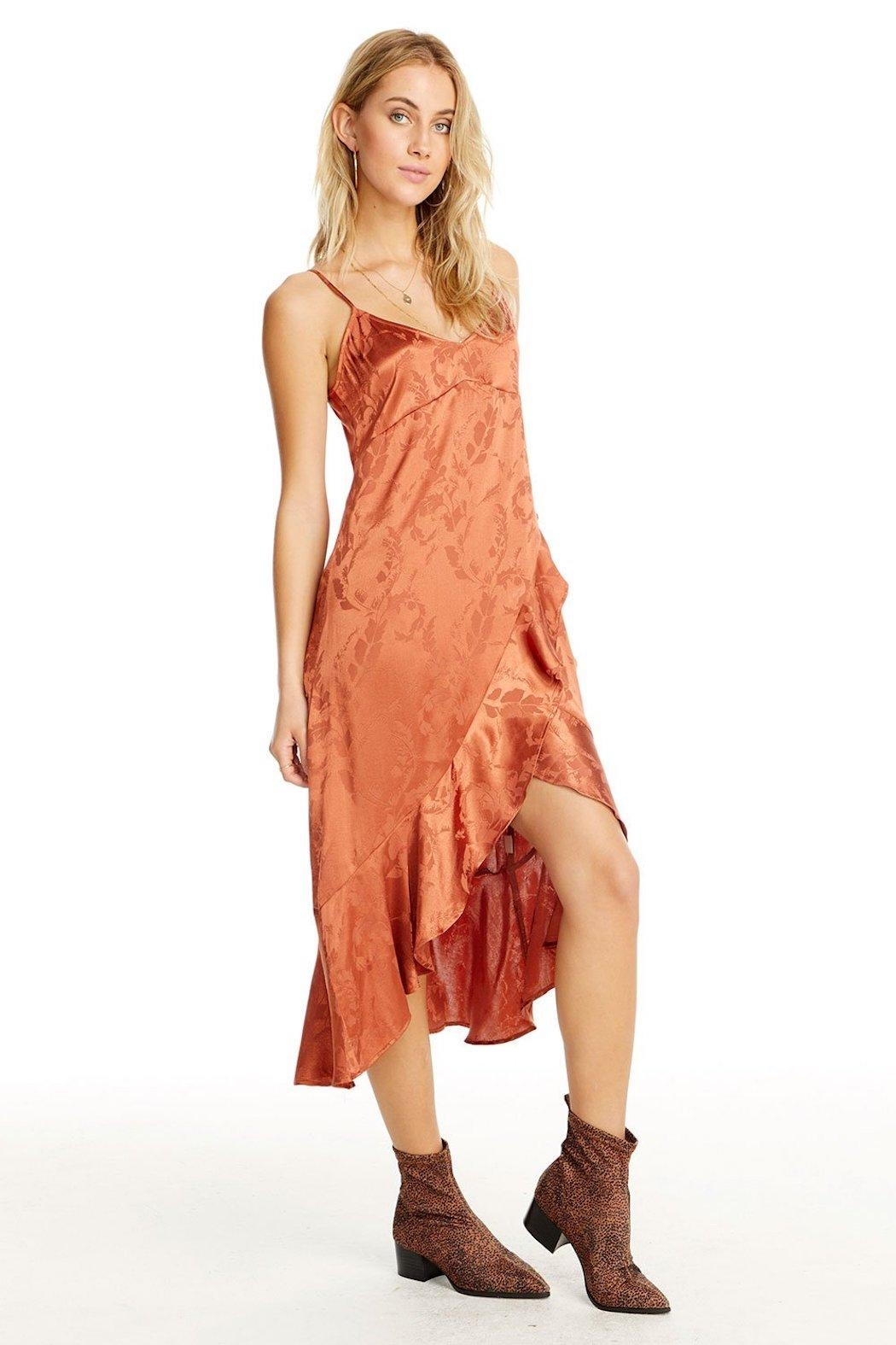 Saltwater Luxe Ruffled Slip Dress - Front Full Image